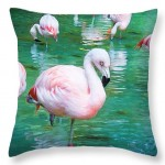 Flock of Flamingos Throw Pillow by T.K. Goforth